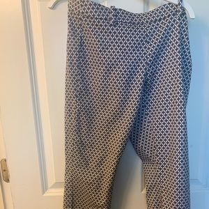 H&M Blue and White Diamond Dress Pants